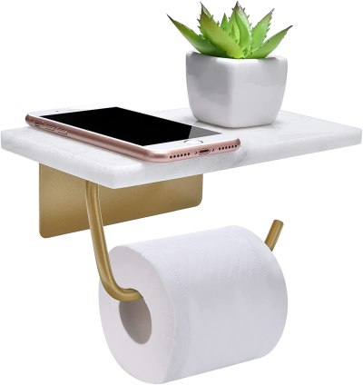 Toilet holder with shelf
