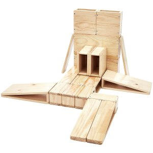 Amazon Basics Over-Sized Hollow Wooden Building Block Set for Kids