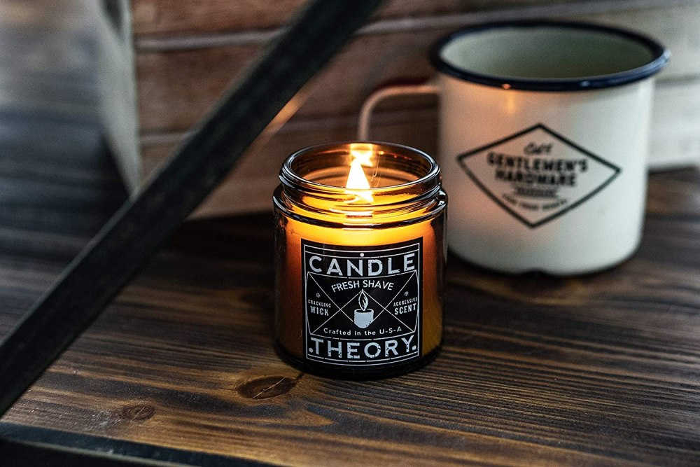 CANDLETHEORY Scented Man Candle Gift Set with 3, 4 oz Scents & Crackling Wood Wicks