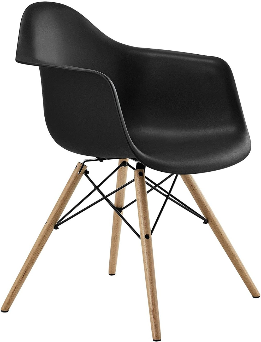 Mid Century Modern Chair with Molded Arms and Wood Legs, Black