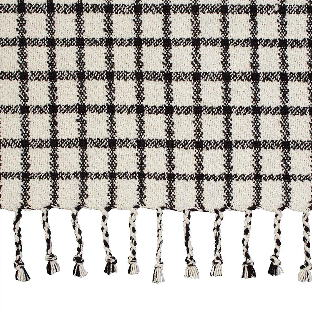 Amazon Brand – Stone & Beam Casual Grid Throw Blanket - 60 x 50 Inch, Black / Ivory