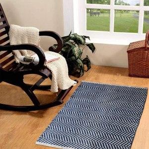 Hand Woven Jute Cotton Chevron 2'x3' Throw Rug- Indoor/Outdoor