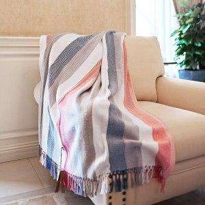 MOTINI 100% Cotton Multi-Colored Striped Throw Blankets Chevron Soft Woven with Decorative Fringe Tassels