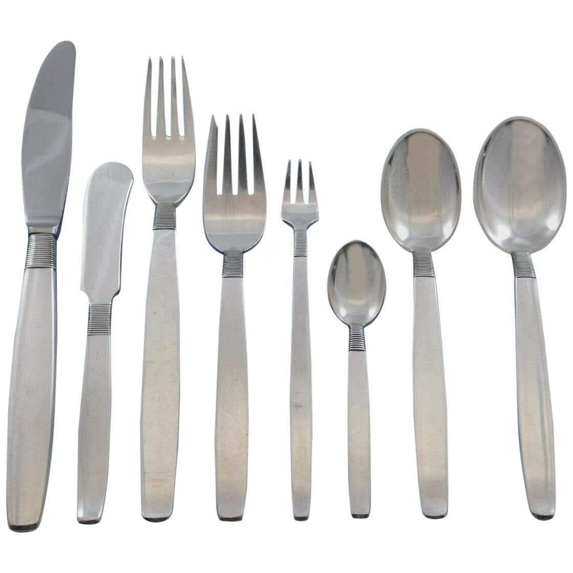 Silver Thread by Hingelberg Danish Sterling Silver Flatware Set Service 104 Pcs