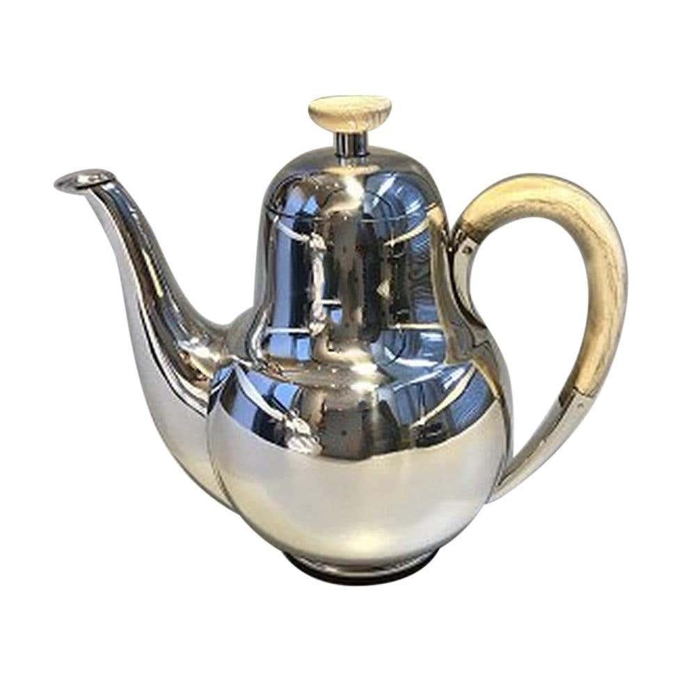Frantz Hingelberg Sterling Silver Coffee Pot Handle and Finial of Bone