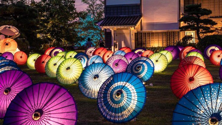 Okayama Castle illuminated Umbrellas