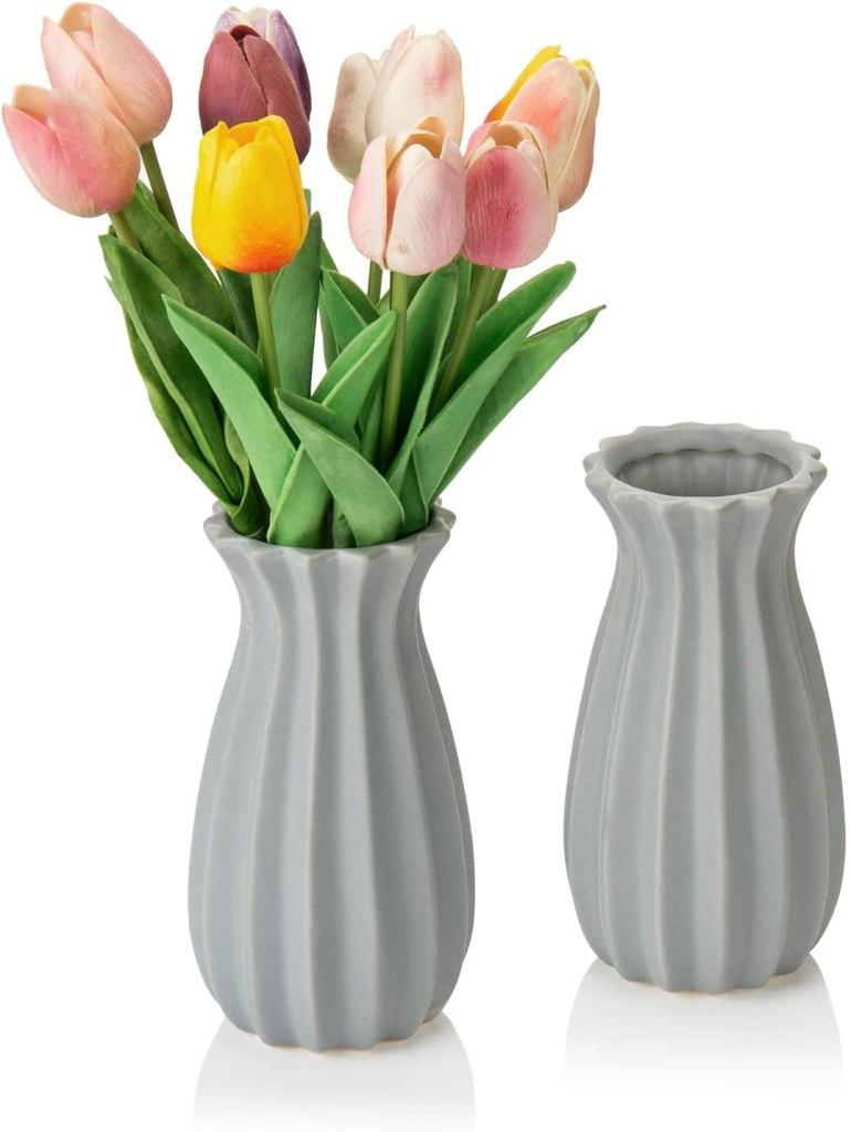 MyGift 7-inch Vintage Matte Gray Tulip Design Ribbed Ceramic Flower Vases