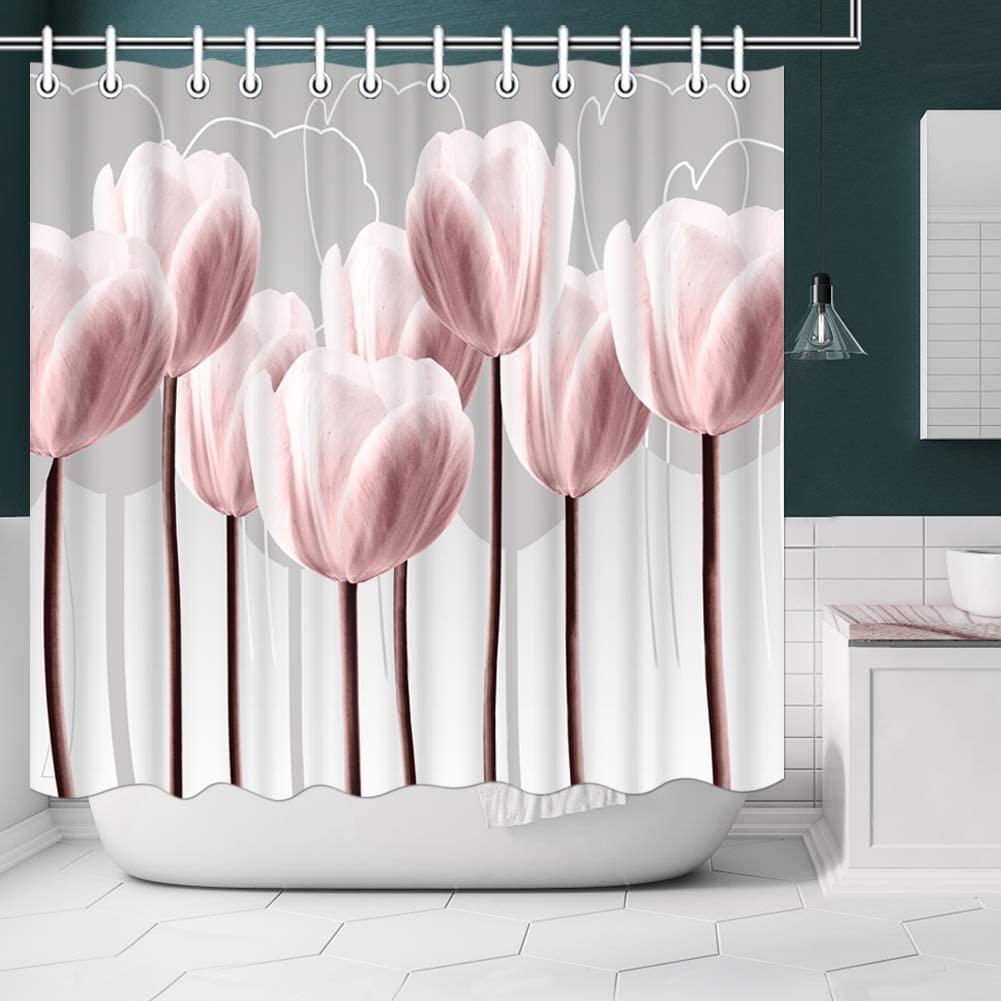 Artsbay Floral Shower Curtain Modern Elegant Pink Tulip Flower Design