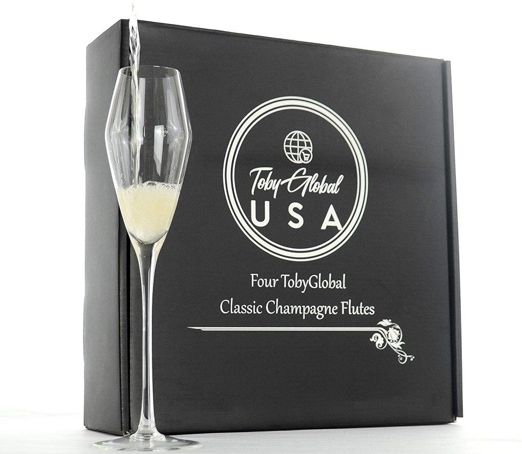 Elegant Set of 4 Champagne Flutes, Stunning Tulip Design