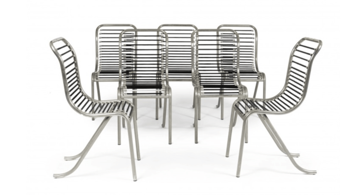 Tubular nickel-plated metal seats designed by Michel Dufet