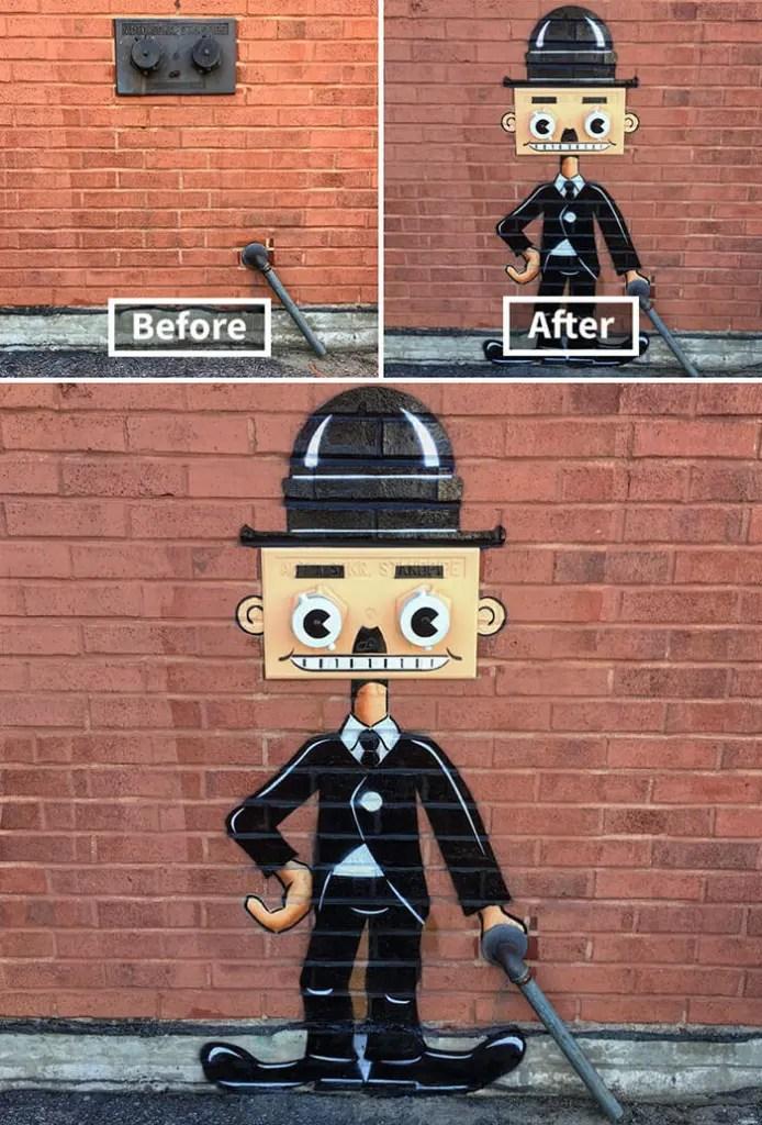 Tom Bob Witty Street Art- Charlie Chaplin
