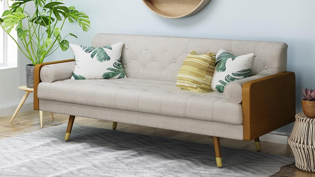 Christopher Knight Home Aidan Mid Century Modern Tufted Fabric Sofa