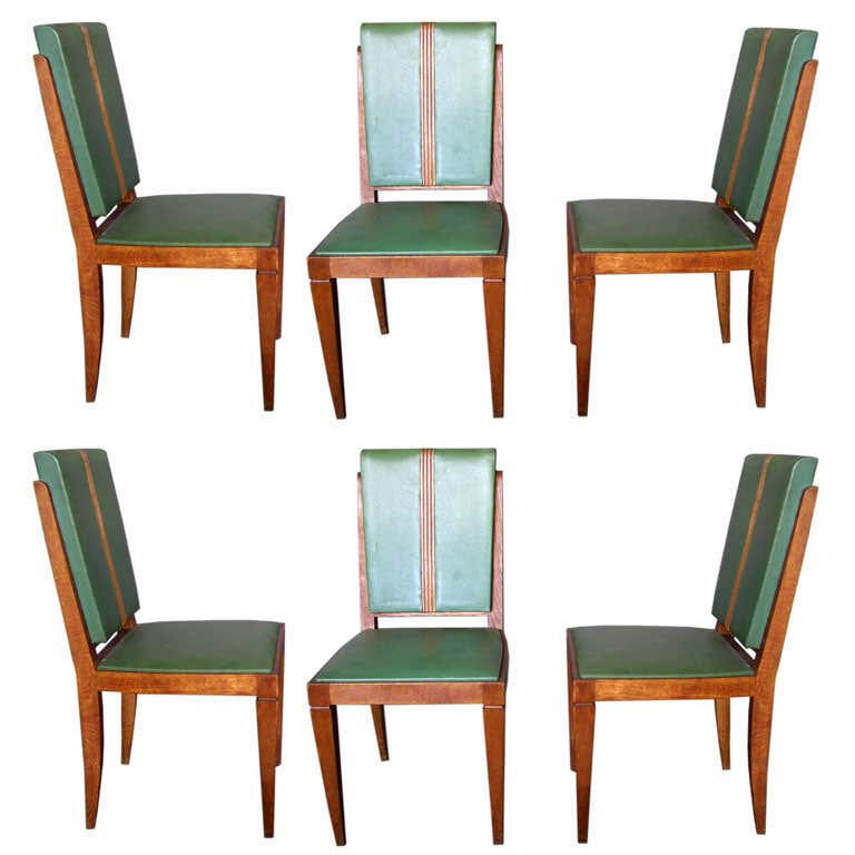 Set of Six French Art Deco Chairs by Jacques Klein