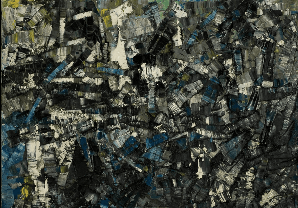 Composition by Jean-Paul Riopelle an example of Tachisme