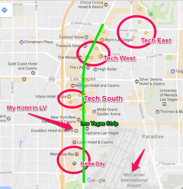 las vegas ces 2017 map