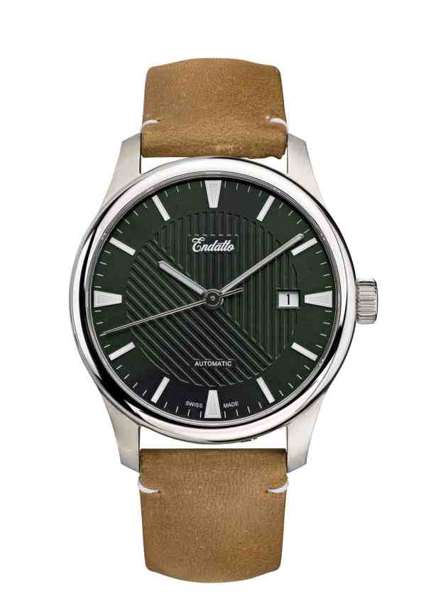 Swiss-made watch featuring a green dial and Eta 2824-2 automatic movement with a genuine leather strap