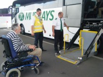 A hole in the side of the Murray's bus.