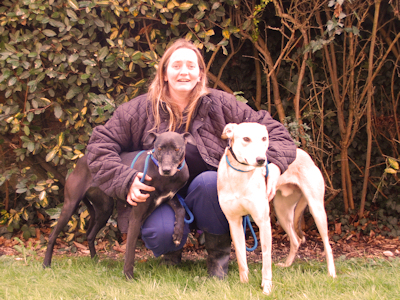 Michelle Ikin with lurchers