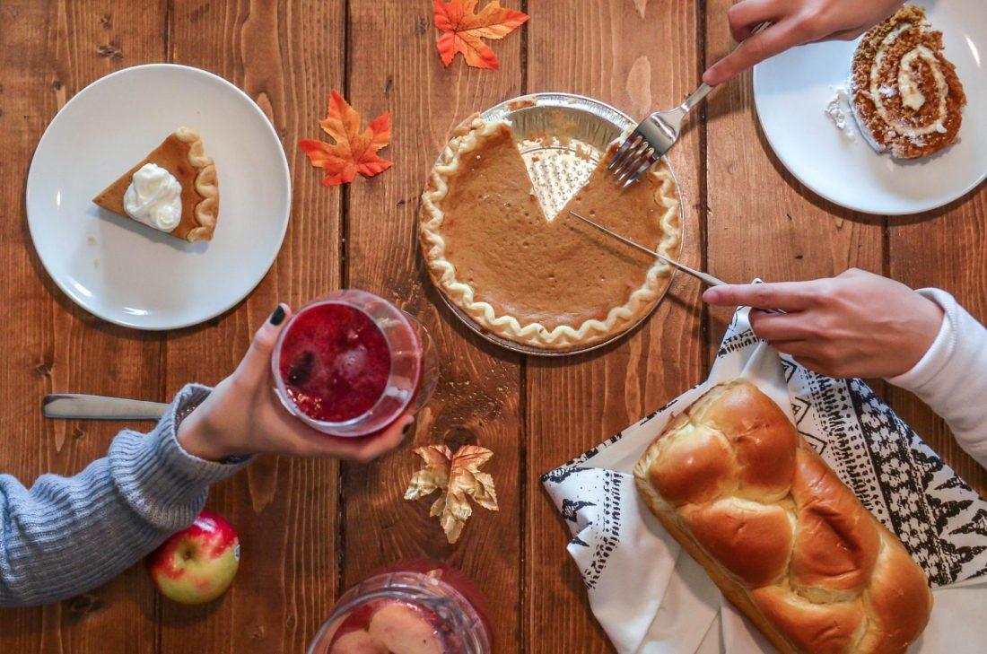 Pumpkin pie, challah bread, pumpkin rolls, and sangria for Thanksgiving brunch.