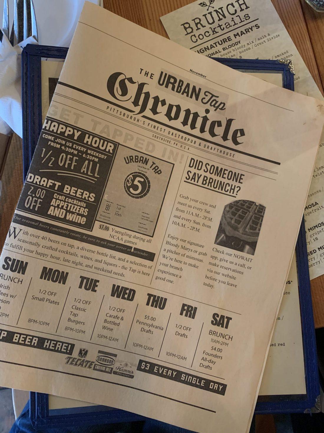 Urban Tap Newspaper Menu