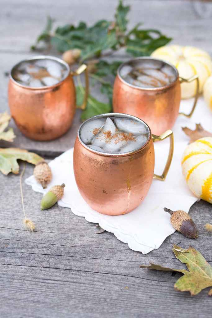 Pumpkin Spice Mules with pumpkins and chestnuts