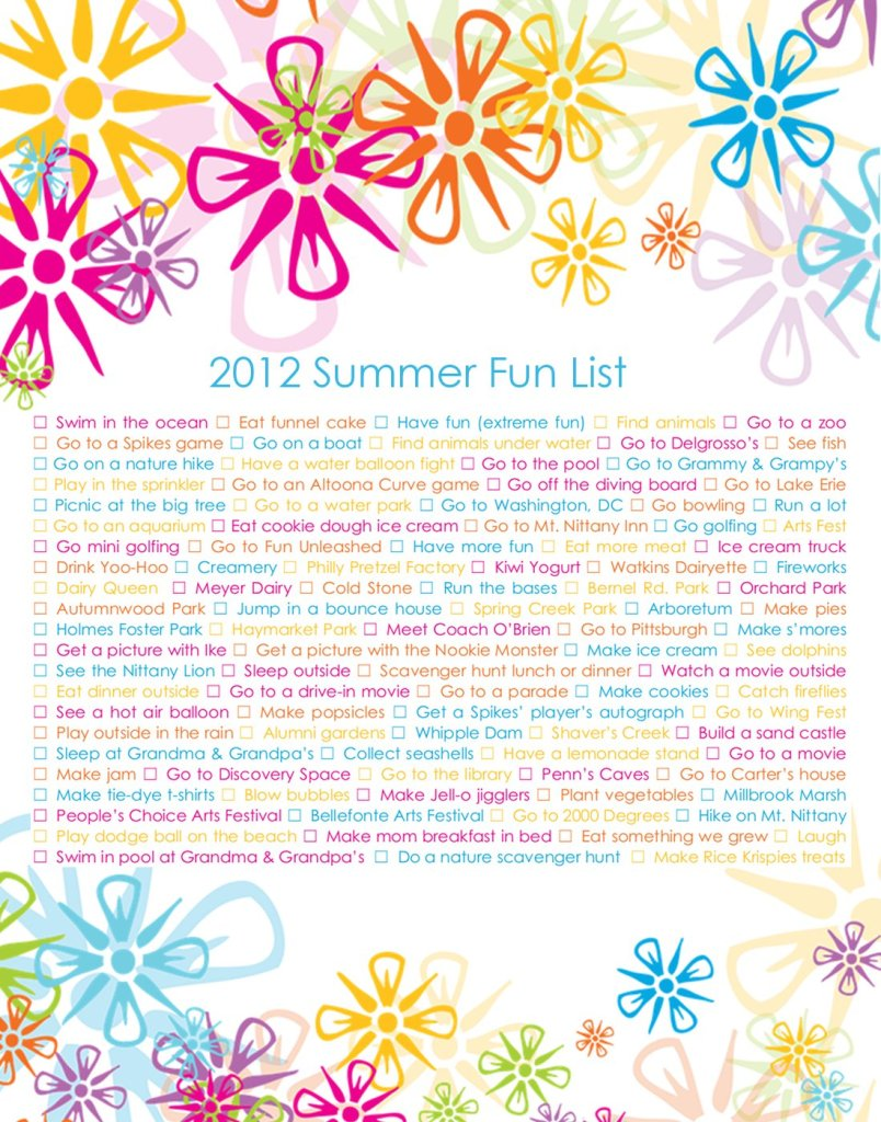 summer fun list poster