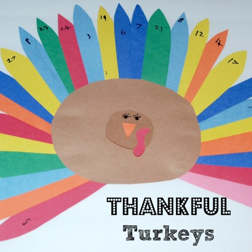 Make cute Thankful Turkeys to count down to Thanksgiving! Kids write down one thing that they're thankful for each day in November.
