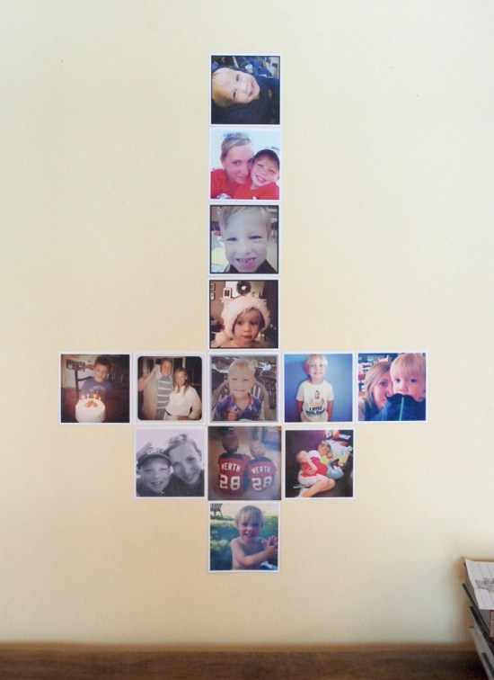 Make a heart-shaped display of Instagram photos. How cute is this?!? It even includes a pattern!