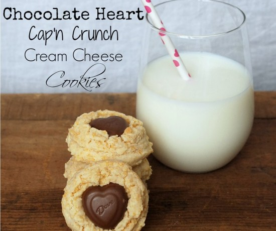 These cookies have cream cheese and Cap'n Crunch cereal in them and are topped off with a chocolate heart. Perfect for Valentine's Day, or any day!