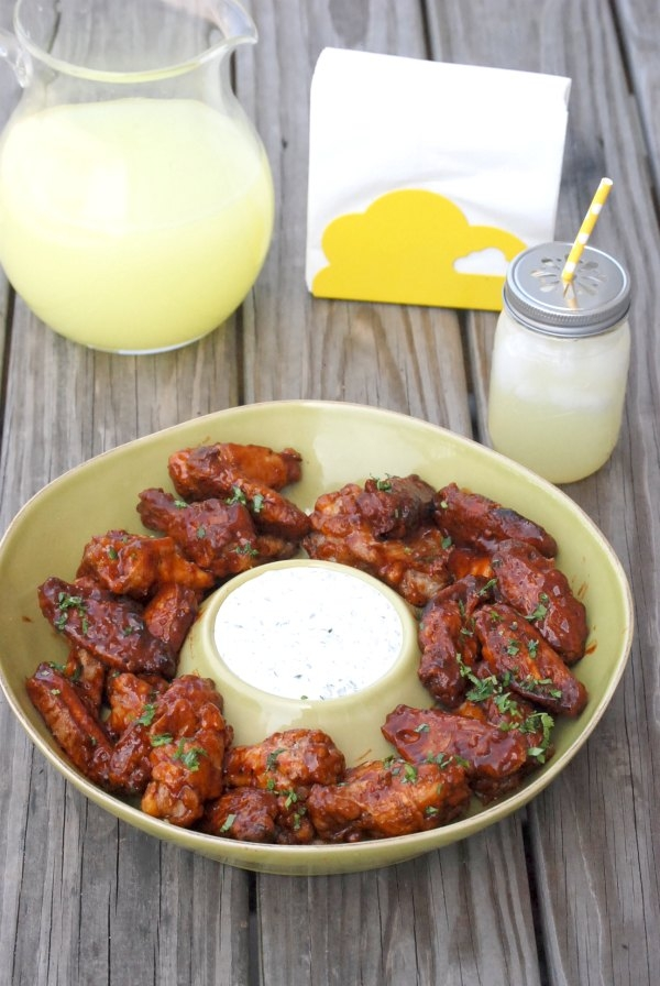 Grilled Bacon Chipotle Wings with Cilantro Ranch Dipping Sauce.