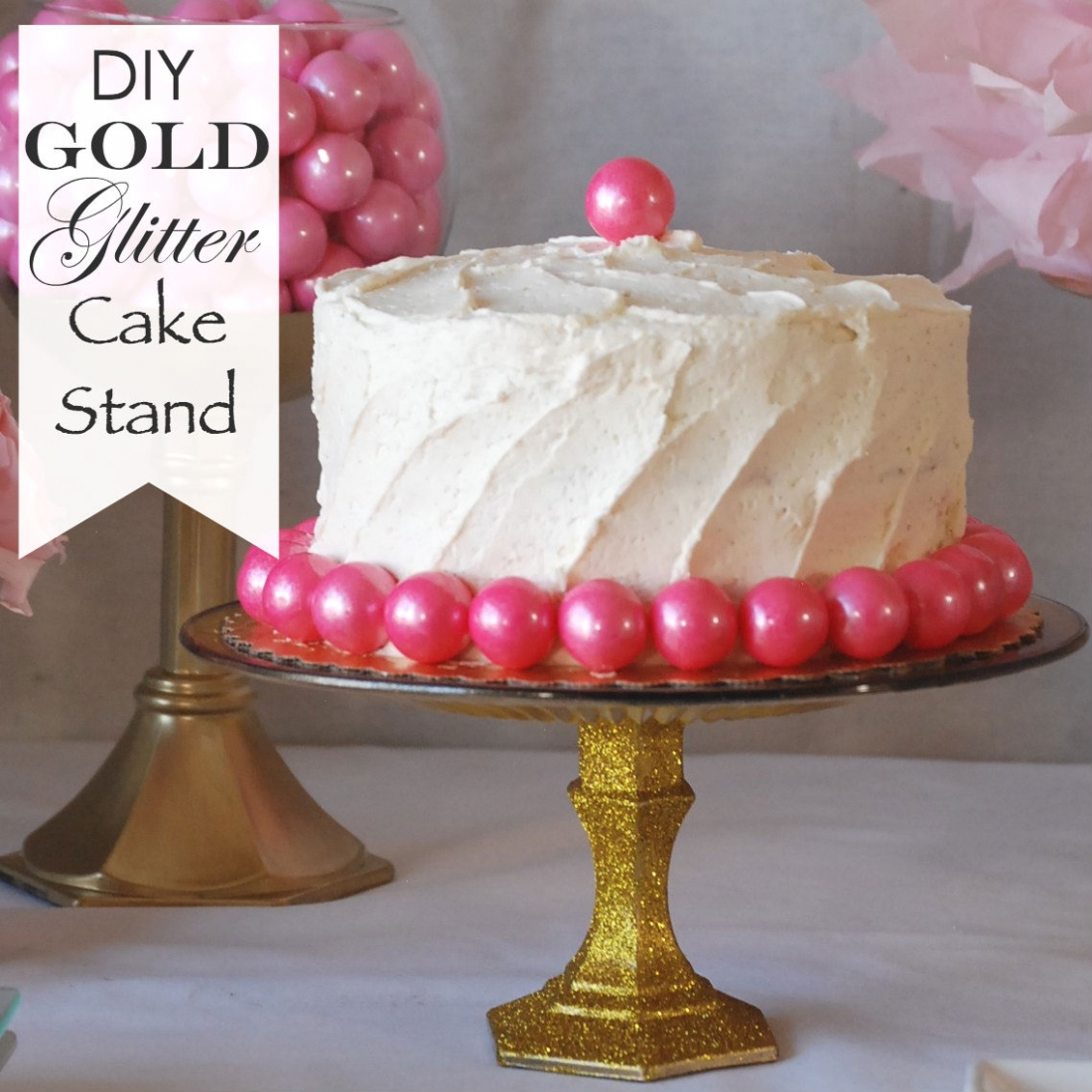 Transform a Dollar Store glass plate and candlestick into a beautiful gold glitter cake stand! & DIY Gold Glitter Cake Stand | Endlessly Inspired