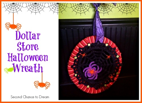 Use some inexpensive Dollar Store supplies to make a cute and creepy Halloween wreath! #31DaysofHalloween