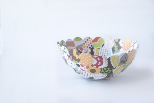 Make this one-of-a kind fall decor paper mache bowl out of paper scraps and mod podge!