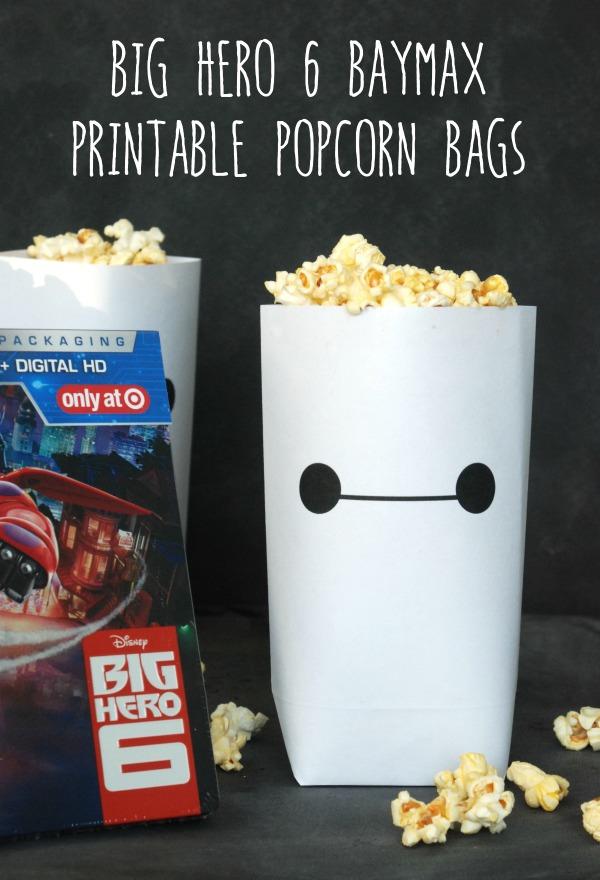 photo relating to Popcorn Bag Printable called Massive Hero 6 Baymax Printable Popcorn Luggage Eternally Influenced
