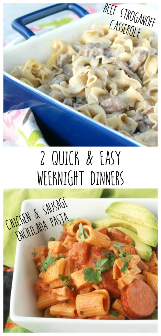 If you're looking for an easy weeknight meal, try these two: Chicken & Sausage Enchilada Pasta and Beef Stroganoff Casserole -- both made with Campbell's Soups for Easy Cooking. #WeekNightHero #ad