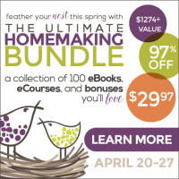 Are you totally overwhelmed by your house and everything you have to do to keep it going? Do you want to learn how to conquer clutter, make better food choices, make your house greener, make a budget and save money, or become a successful work-at-home mom? Then you need to check out the Ultimate Homemaking Bundle -- over $1,200 worth of eBooks, eCourses, online conferences, bonuses and more -- for only $29.97!