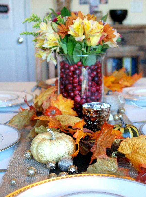 Creating a gorgeous Thanksgiving tablescape shouldn't be stressful -- this one is quick, easy and beautiful, and cost next to nothing to put together.