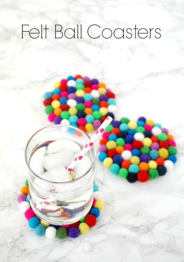 Felt ball coasters are easy and inexpensive to make, but add such a fun pop of color to your home.
