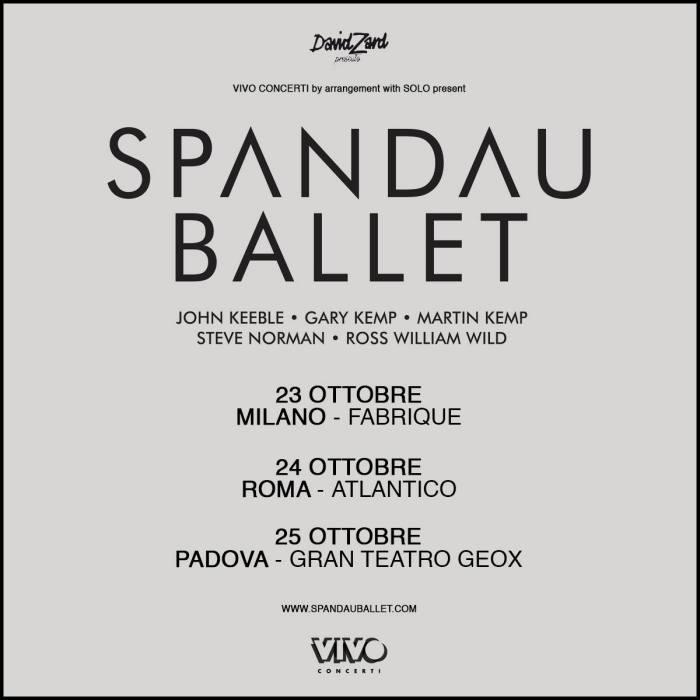 spandau ballet concerti milano, roma, padova ottobre 2018