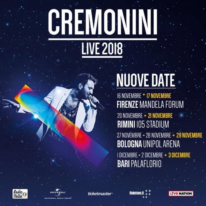 """Cesare Cremonini nuovi concerti palasport Firenze, Rimini, Bologna, Bari """"Cremonini Live 2018"""""""