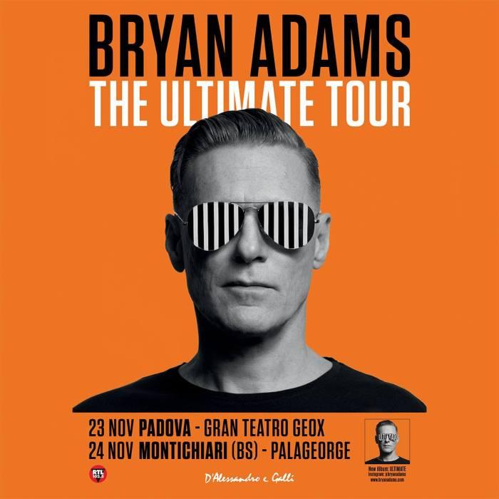 Bryan Adams locandina concerti 23 novembre Gran Teatro Geox Padova, 24 novembre Palageorge Montichiari