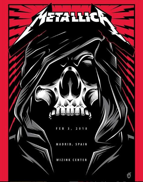 Metallica locandina concerto Madrid 5 febbraio 2018