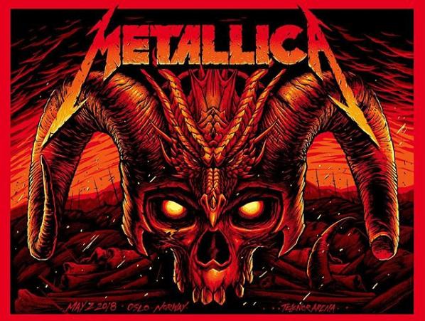 Metallica locandina concerto Oslo 02 maggio 2018