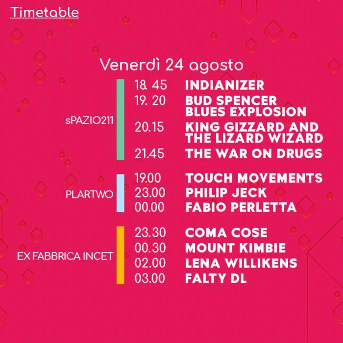 Todays Festival 2018 orari lineup venerdì 24 agosto