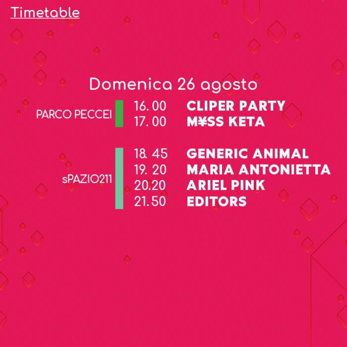 Todays Festival 2018 orari lineup domenica 26 agosto