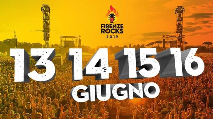 Firenze Rocks torna nel 2019 alla Visarno Arena di Firenze da giovedì 13 a domenica 16 giugno 2019