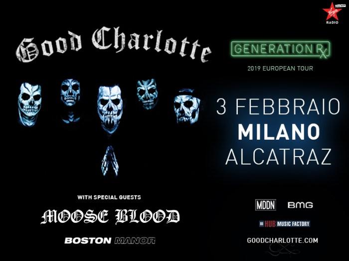 Moose Blood e Boston Manor special guest del concerto del 3 febbraio 2019 dei Good Charlotte all'Alcatraz di Milano