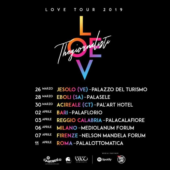 """Il """"Love Tour"""" dei Thegiornalisti continua nel 2019 con nuovi concerti nei palazzettiIl """"Love Tour"""" dei Thegiornalisti continua nel 2019 con nuovi concerti nei palazzetti"""