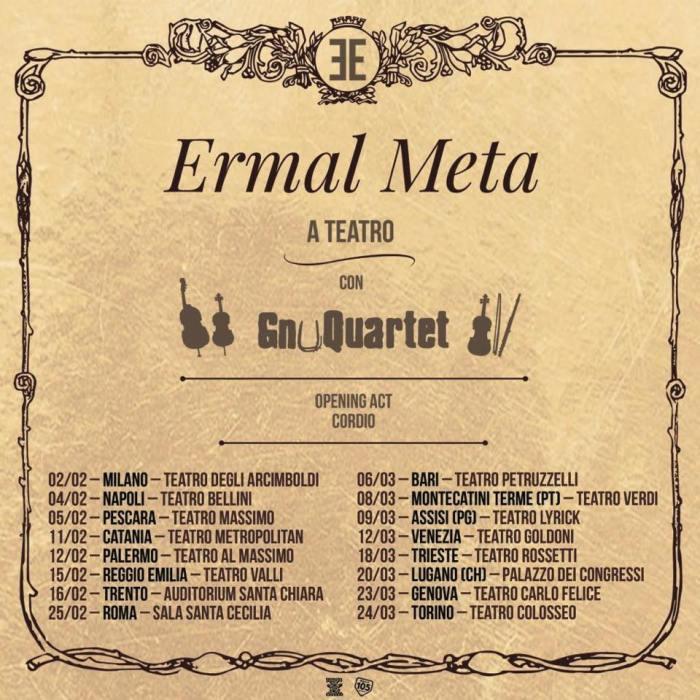 Ermal Meta sarà in tour nei teatri con lo Gnu Quartet dal 2 febbraio 2019