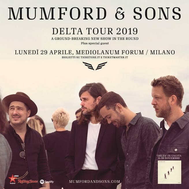 """Mumford and SOns in concerto il 27 aprile 2019 al Mediolanum Forum di Milano con l'album """"Delta"""""""